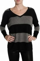 Minnie Rose Striped Sweater Black/Knight Grey