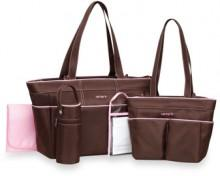 Carter's® 5-Piece Diaper Bag Set - Brown/Pink