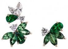 Anyallerie 'Bumble Bee' diamond tsavorite 18k rose gold mismatched earrings