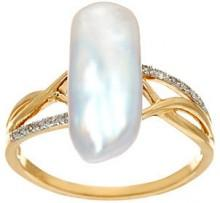 QVC As Is 14K Gold Diamond Accent & American Pearl Ring