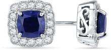 6.5mm Cushion-Cut Lab-Created Blue and White Sapphire Frame Stud Earrings in Sterling Silver