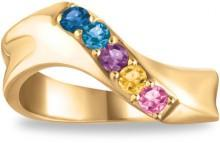 Mother's Birthstone Wave Ring in 10K White or Yellow Gold (5 Stones)