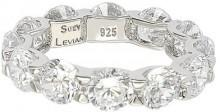 Suzy Levian Jewelry Sterling Silver CZ Round Cut Eternity Band
