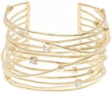 Rivka Friedman 18K Yellow Gold Clad Simulated Diamond Accented Satin Mina Cuff