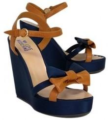 Love Moschino Blue Satin Bow Wedges