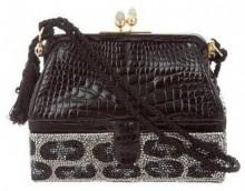 Judith Leiber Crystal Embellished Alligator Evening Bag