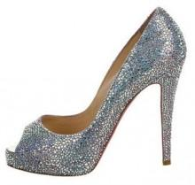 Christian Louboutin Peep-Toe Strass Pumps