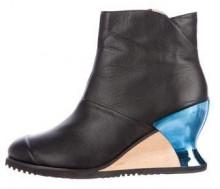 Issey Miyake Leather Wedge Ankle Boots
