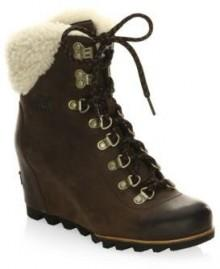 Sorel Leather Boots with Faux Fur