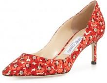 Jimmy Choo Romy Floral-Print 60mm Pump, Red Pattern