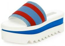 Stella McCartney Striped Fabric Platform Slide Sandal, Garn/Pervin