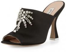 Attico Elena Crystal-Embellished Mule Sandal, Black