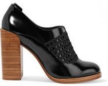 3.1 Phillip Lim Claridge Woven-Paneled Glossed-Leather Mules