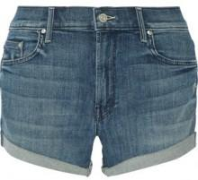 Mother The Teaser Distressed Denim Shorts