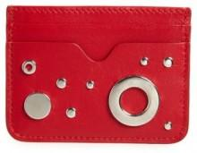 Women's Alexander Mcqueen Grommet & Stud Calfskin Card Holder - Red