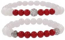Savvy Cie White Jade & Sea Bamboo Beaded Bracelets - Set of 2