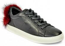 Lola Cruz - 257Z10BK - Leather Fur Sneaker