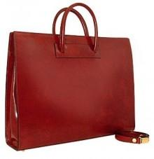 Pratesi Ladies' Polished Dark Brown Leather Classic Briefcase